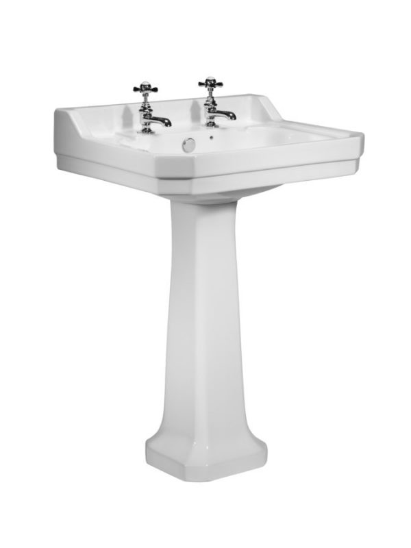 TAVDB850S TAVPE850S Vitoria 605 basin and pedestal 2 tap hole