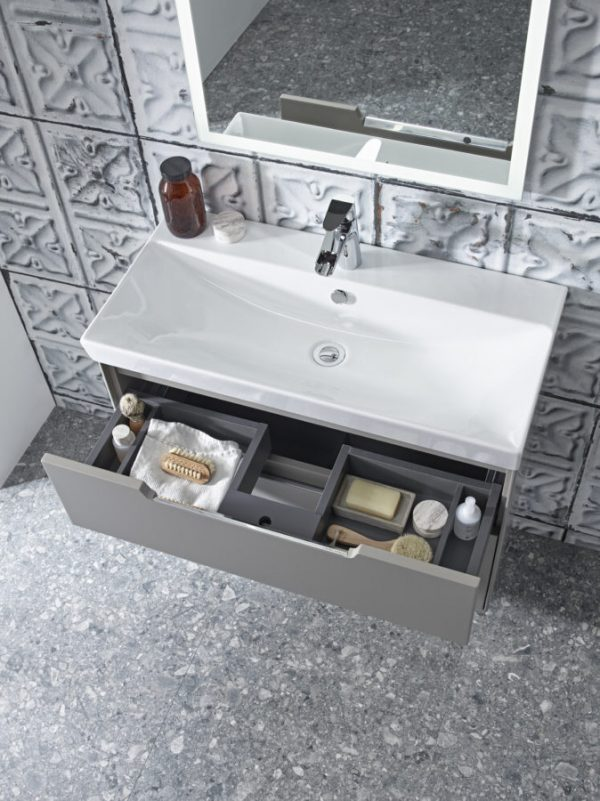 Monograph 800mm light clay drawer open Lifestyle