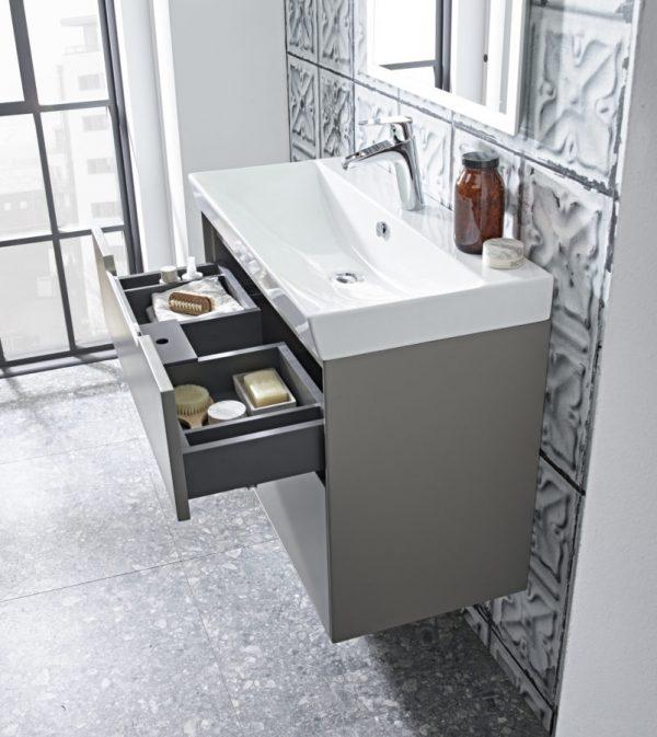 Monograph 800mm light grey basin usnit drawer open Lifestyle V4
