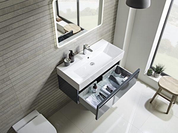 TAVFR90WDGG Forum 900mm dark grey gloss drawer open lifestyle