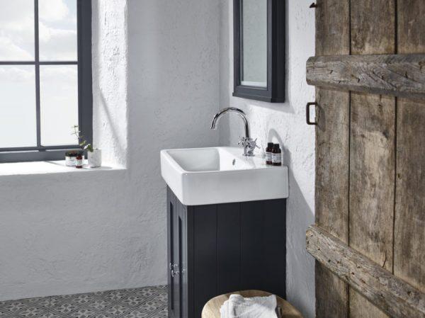 TAVLAN400C.DGM Lansdown cloakroom unit basin detail dark grey matt