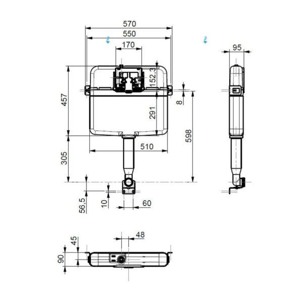 siamp intraslim concealed cistern drawing
