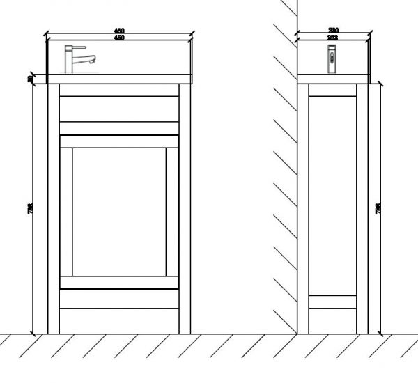 TURIN CLOAKROOM BATHROOM UNIT DIMENSIONS