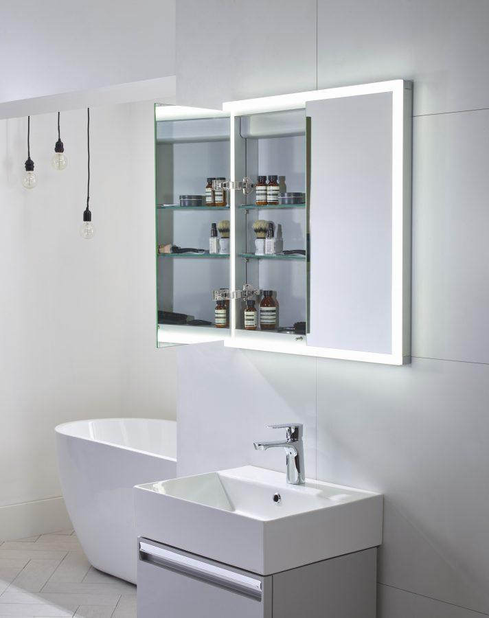 TAVNO65AL Forum 500 Grey WM unit with chrome handles ceramic basin Nook cabinet open 3 scaled