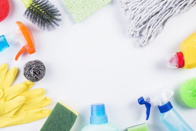 high angle view cleaning products grey surface