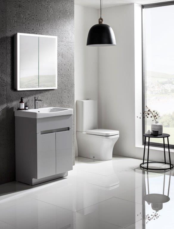 Diverge 600 freestanding gloss light grey lifestyle