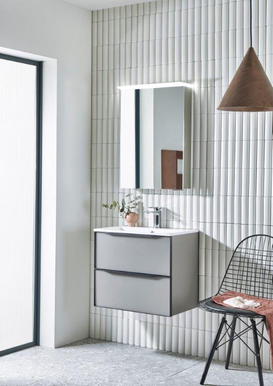 Frame 600mm Matt light Grey unit with Virtue Cabinet