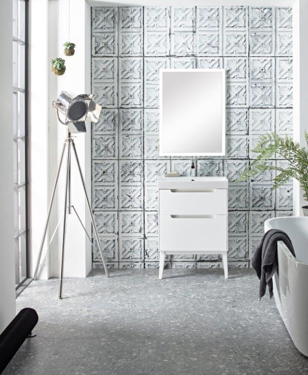 Monograph 600mm white drawer unit with feet modern mirror plus opus acrylic bath Lifestyle