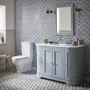 Lansdown 1200 curved 1 basin unit mineral blue with Lansdwon mirror lifestyle