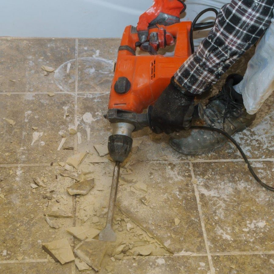 REMOVING TILE WITH HAMMER DRILL