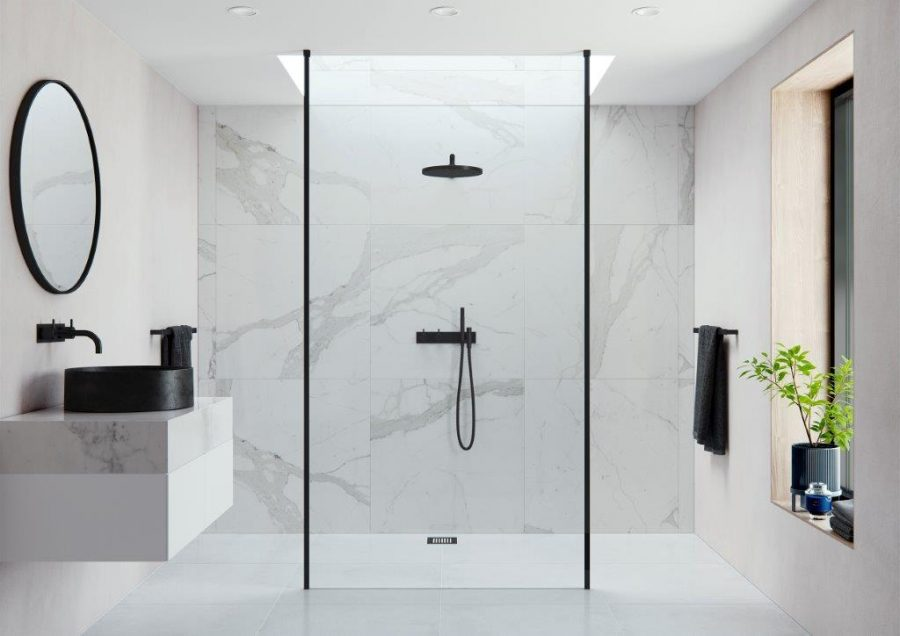 AYO Modular AYO 10mm Double Entry Wetroom Panel with Floor to Ceiling Stabilising Bars Configuration 16 in Black