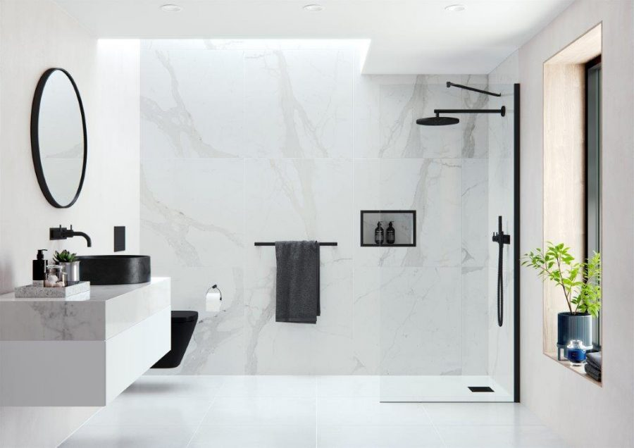 AYO Modular AYO 10mm Wetroom Panel with Angled Stabilising Bars Configuration 6 in Matte Black