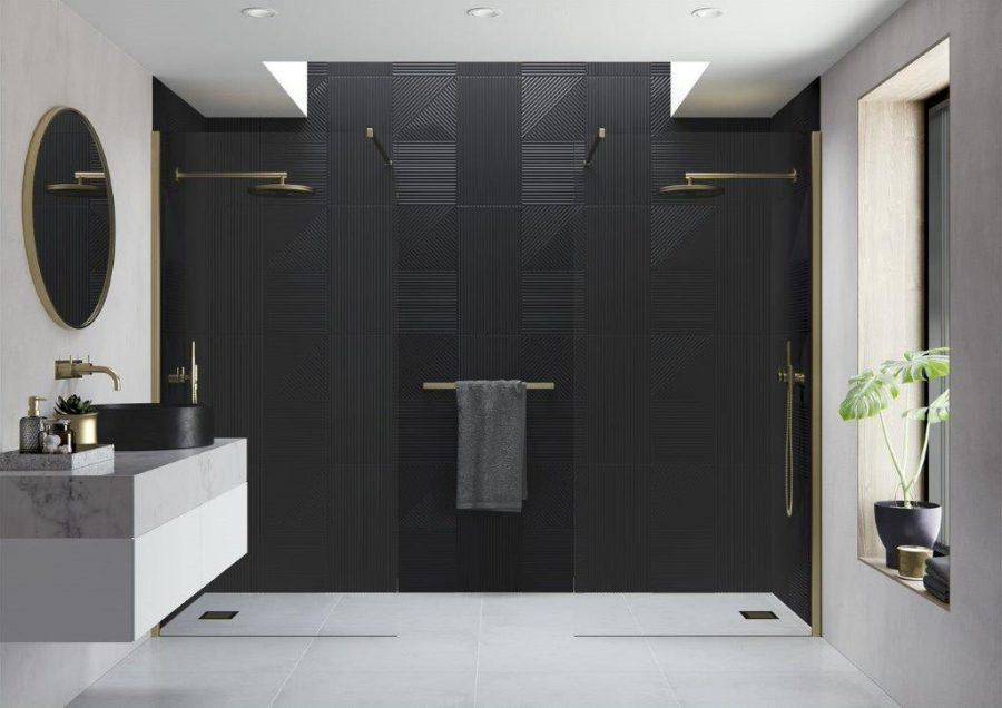 AYO Modular Double Entry Wetroom Panel with Straight Stabilising Bars Brushed Brass