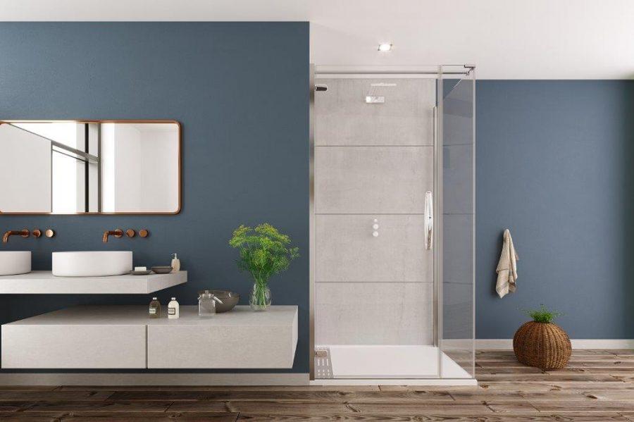 ORO Hinge door with frameless corner side panel blue